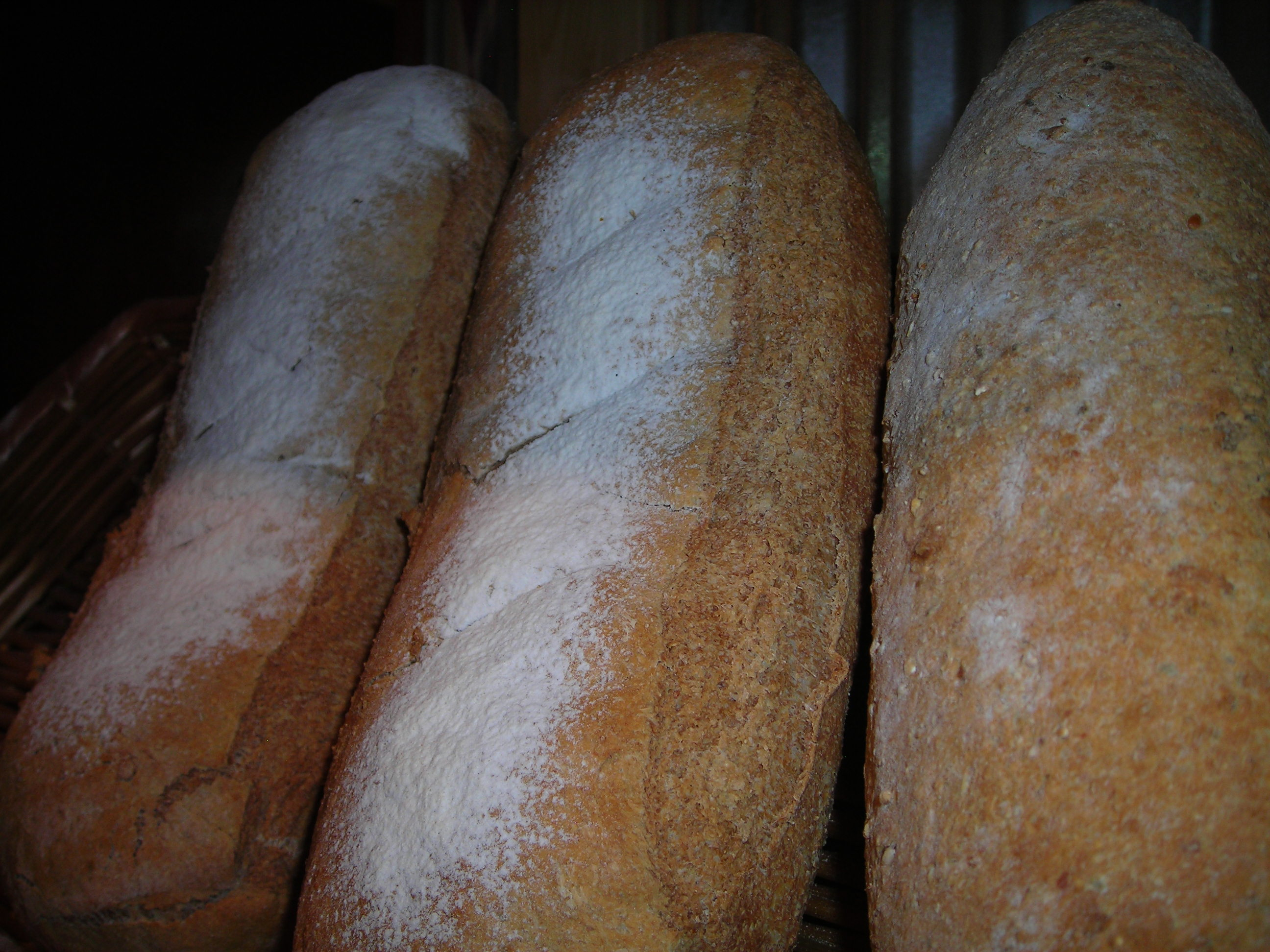 We can bake your bread - just give us a call:  Wheat, White, Cracked Wheat, Honey Wheat, Bavarian Dark, Rye, Sourdough and French in your favorite shape: Long, Sandwich loaf, Boulle, Baguette.